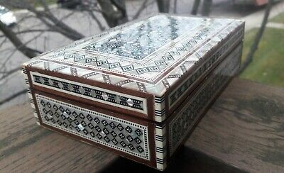 Egyptian Handmade Inlaid Mother of Pearl Jewelry Box Rectangle With Blue Velvet