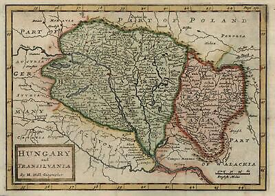 Hungary Transylvania 1711 Moll engraved map w/ lovely hand color