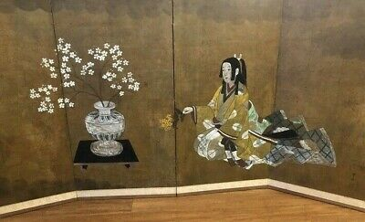 "Antique Japanese Screen - 4 Fold- Signed & Stamped - 36"" x 73"""