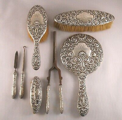 Antique Whiting Sterling 7 Piece Vanity Dresser Set #4831 Late 19th C SALE!!!