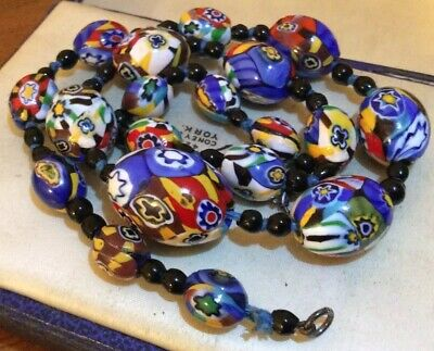 Vintage Art Deco Jewellery Venetian Millefiori Venetian Glass Cane Bead Necklace