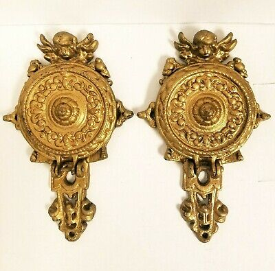 Antique Pair of French Cherub Angel Gold Gilt Iron folding Wall Sconce