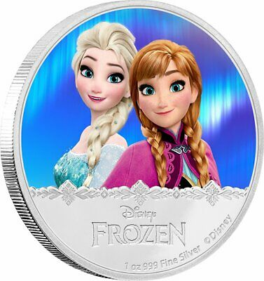ELSA and ANNA  Frozen: Magic of the Northern Lights 1 oz Pure Silver Coin