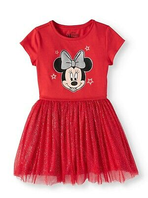 Disney Minnie Mouse Girls Red-Silver Foil Mesh w/Cotton Lining Dress 10-12 Large
