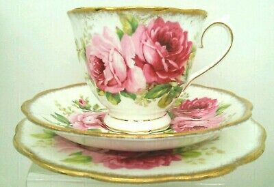 "DD. ""Royal Albert"" American Beauty Bone China Tea Cup & Saucer  & Plate England"