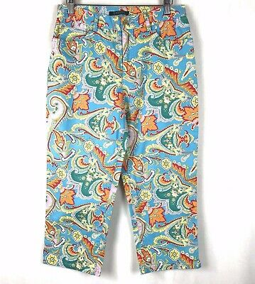 Lauren Ralph Lauren Pants Size 6 Women Crop Leg Straight Casual Stretch Floral