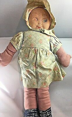 Antique Cloth Rag Filled Moulded Face Doll