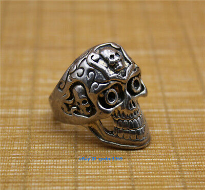 Chinese Tibetan silver carved Skull Ring