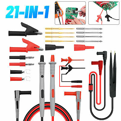 21 in 1 Multimeter Test Lead Kit Electrical Alligator Clip Test Probe Plug Set