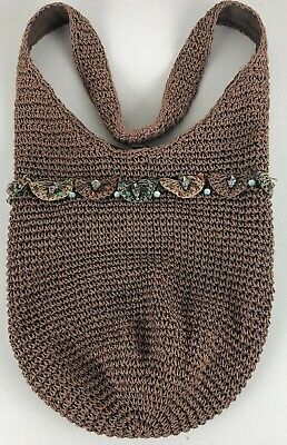 Vintage Brown Macrame Woven Purse Tote Bag Boho Hippie Crossbody Handbag