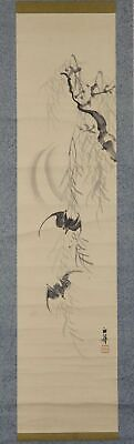 """JAPANESE HANGING SCROLL ART Painting """"Bat and Moon"""" Asian antique  #E9897"""