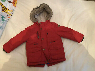 Boys Red Hooded Winter Coat Parker Age 12-18 Months