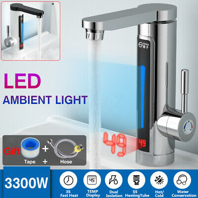 LED Electric Heating faucet Tap Instant Hot Water Fast Heat Kitchen Bathroom