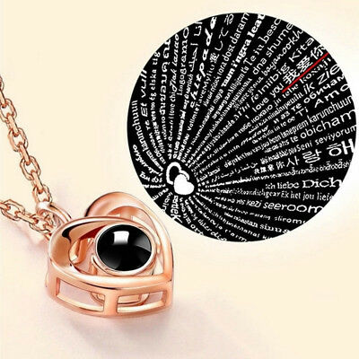 I LOVE YOU in 100 Languages Light Projection Heart Necklace Girl friend Couple's