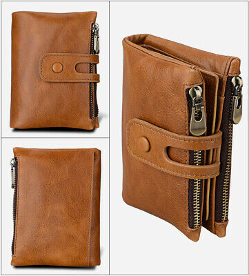 Genuine Leather Men's Wallet Zipper&Hasp Male Short Coin Purse RFID Antimagnetic
