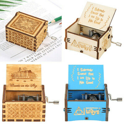 Retro Wooden Blue Hand Cranked Music Box Manual Child Birthday Gifts Home Decor