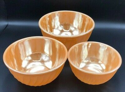 50s/60s Mixing Bowls (SET 3) Anchor Hocking Fire King Peach Lustre Luster Swirl