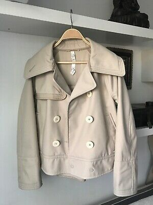 THE WHITEPEPPER Contrast Button Trench Coat with Patch Navy Hipster Small #5L366