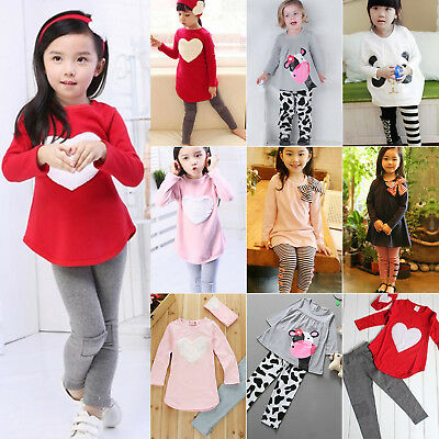 2PCS Toddler Kids Baby Girls Pullover Tops Long Pants Casual Outfits Set Clothes