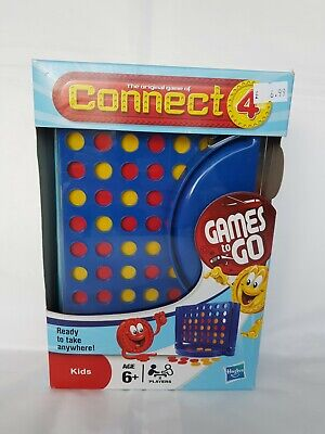 TRAVEL GAMES HASBRO CONNECT 4 CLASSIC HOLIDAY PORTABLE BOARD ON THE MOVE, new.
