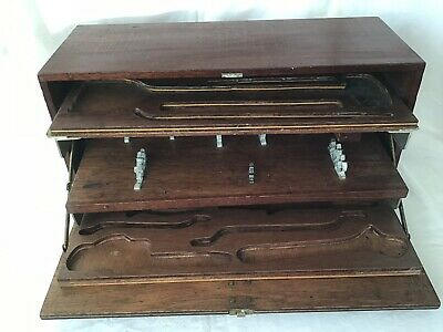 Lovely Vintage Wooden Carpenters Joiners Tool Box Brass Handles Empty