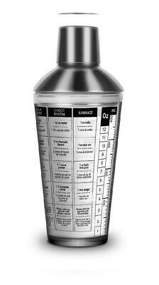 Final Touch FTA1831 Glass and Stainless Cocktail Shaker 16-Oz., Clear