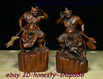 China Boxwood Clairvoyance Clairaudience Troops From Heaven God General 2 Statue