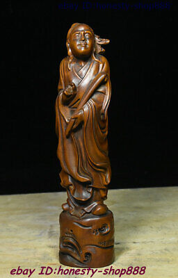 Collect Old China Natural Boxwood Wood Carving Famous History Task People Statue