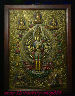 Old Tibet Wood Inlay Bronze Gilt 1000 Arms Avalokiteshvara Thang-ga Wall hanging