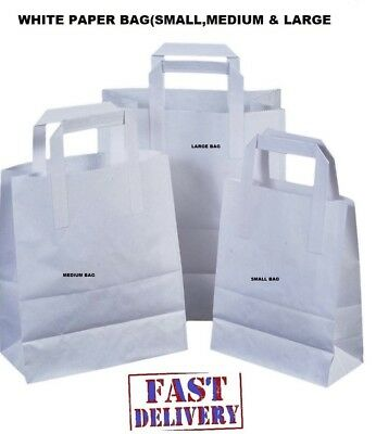 Brown/White Paper SOS carrier bags take away handles 3 SIZES Small,Medium,Large