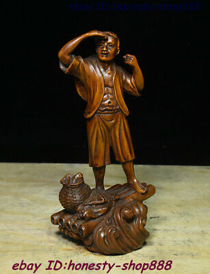 Collect Folk Old China Natural Boxwood Wood Hand Carving People A farmer Statue