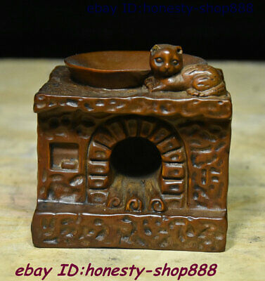 Chinese Boxwood Wood Carving Cooking bench the top of a kitchen range Cat Statue