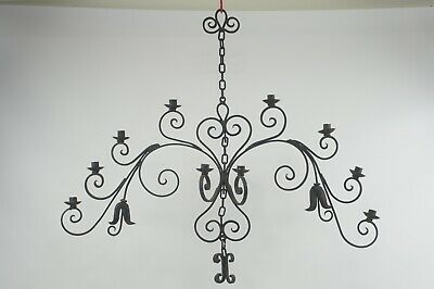 Vintage Ornate Very Large Hanging Wrought Iron Wall Sconce Candle Holders