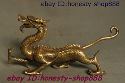 Collect China Copper Brass Fengshui 12 Zodiac Year Dragon God Loong Beast Statue