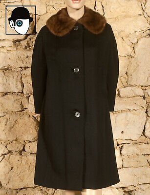 VINTAGE 40s/50s  FUR TRIMMED OVERCOAT - UK 10