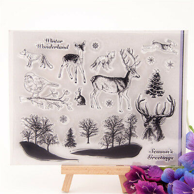 Silicone Clear Stamp Transparent Rubber Stamps DIY Scrapbook Christmas deerKr