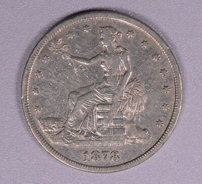 1878 S Trade Dollar silver coin, nice details,   VF,  Free shipping!