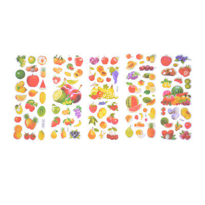 6 Sheets Fruits Scrapbooking Bubble Stickers 3D Cartoon Stationery Stickers KR