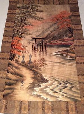 ANTIQUE 19th MEIJI JAPANESE LANDSCAPE EMBROIDERED PANEL BY SHUNZAN CHINESE!