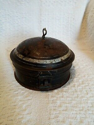 Toleware Spice Box tin rare makers mark & nutmeg greater Victorian 19thC