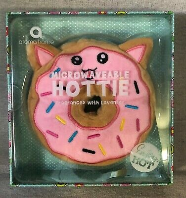 Microwaveable Pink & Multi Cat Faced Donut Lavender Scented Hottie
