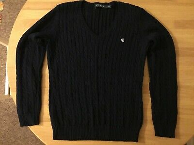 Ralph Lauren Cable Knit Jumper Size L Navy Knitted Sweater Ladies Designer