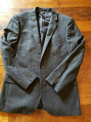 NWT J.Crew Ludlow Donegal Tweed Suit Coat from Abraham Moon in Dark Slate - 42