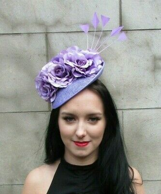 Lavender Lilac Purple Rose Flower Feather Disc Saucer Hat Fascinator Hair 7954