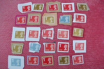 25 x 1st CLASS  LARGE  UNFRANKED STAMPS ON PAPER, FACE £26.50