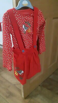 Excellent Condition Frugi Robin Christmas Girls Pinafore & Bodysuit Set Age 2-3