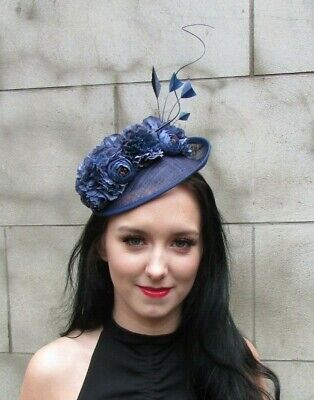 Navy Blue Flower Feather Disc Saucer Hat Fascinator Hair Races Wedding Rose 7958