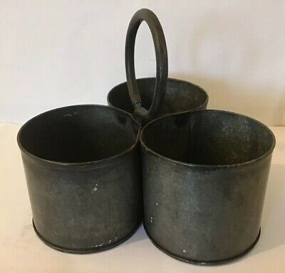 Antique Spice Canisters Carriers Galvanised Metal Trio