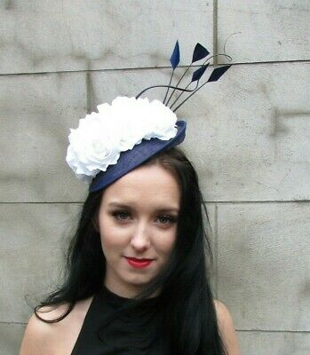 Navy Blue & White Rose Flower Feather Disc Saucer Hat Fascinator Hair Races 7959