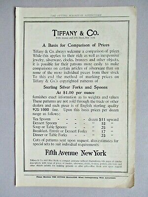 Tiffany Jewelers PRINT AD - 1907 ~~ sterling silver forks & spoons; jewelry